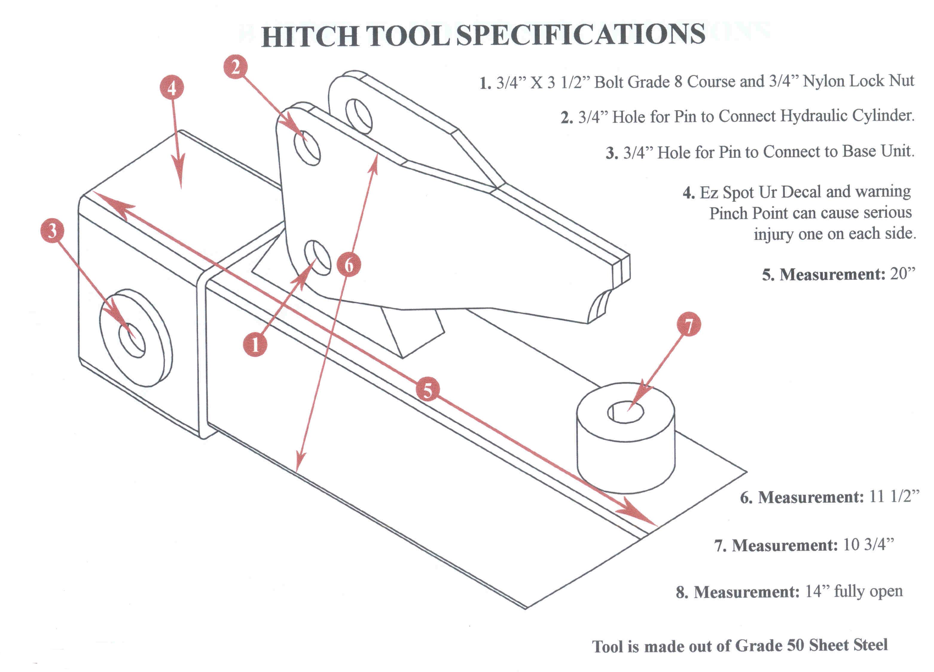 Specifications Hitch Tool