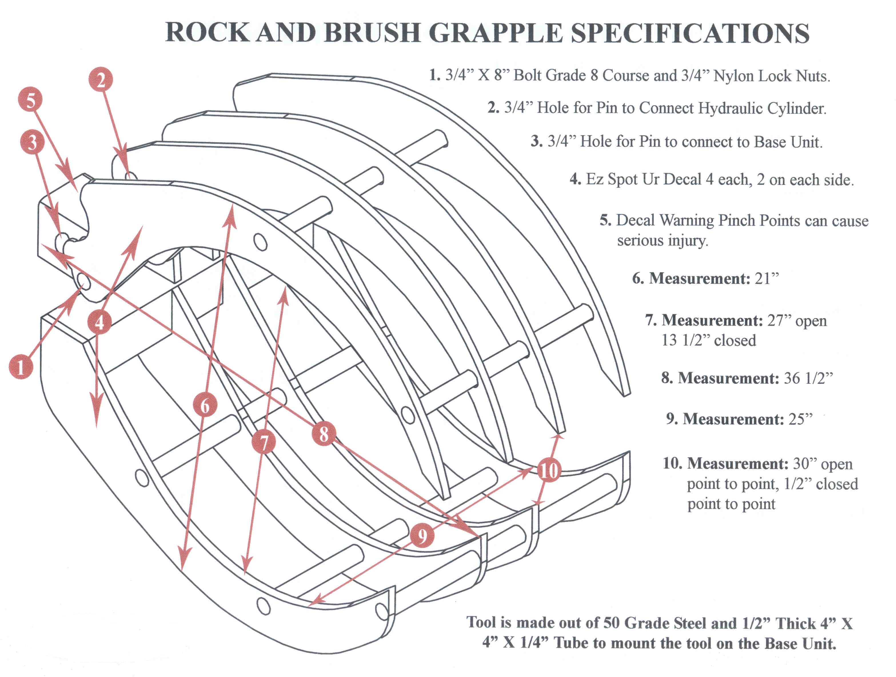 Specifications Rock And Brush Grapple