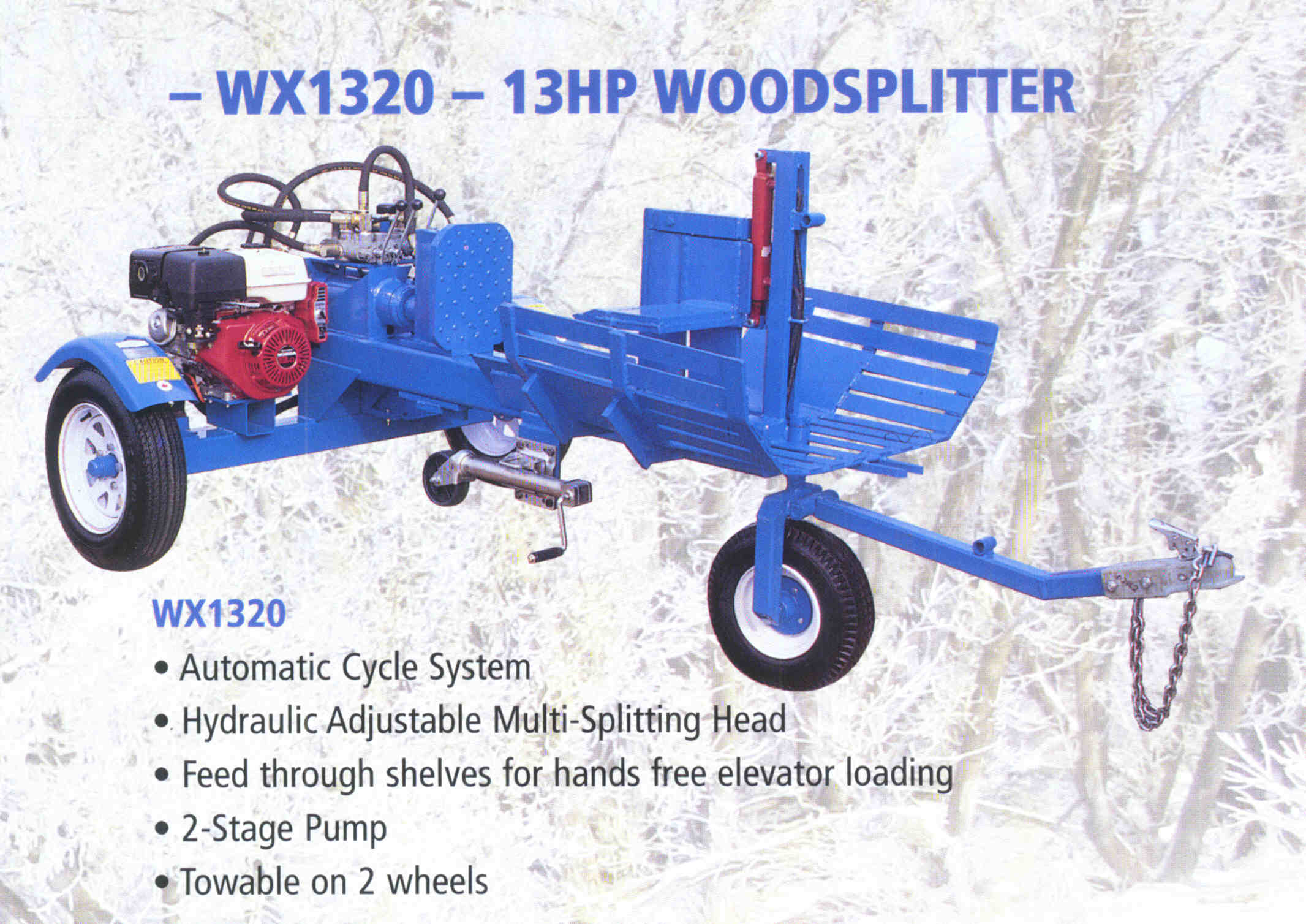 Trailer Mounted Logsplitter With 4-Way Wedge And Feed Through Shelves