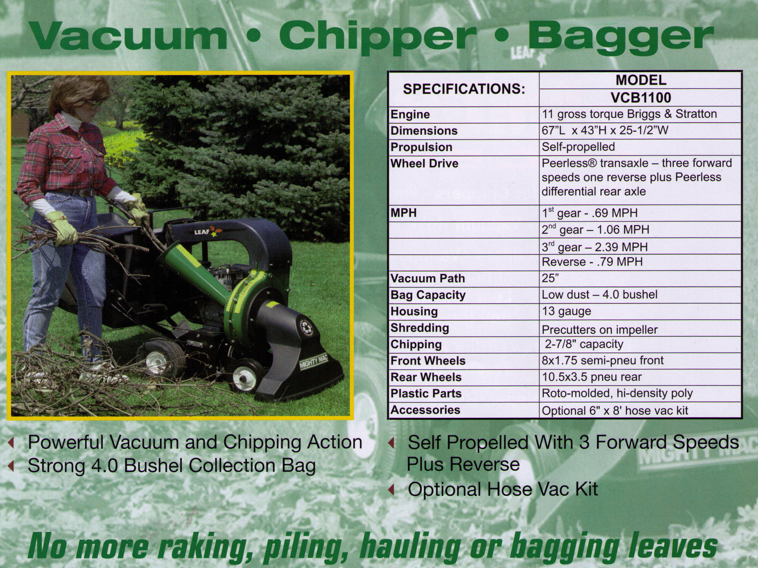 Walk Behind Chipper Bagger Vacuum, Reduces Limbs, Leaves, And Debris By Up To 8 To 1