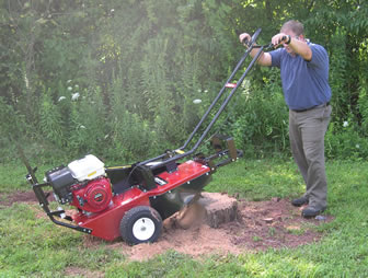 Stump Grinder In Use In Rear Cutting Position