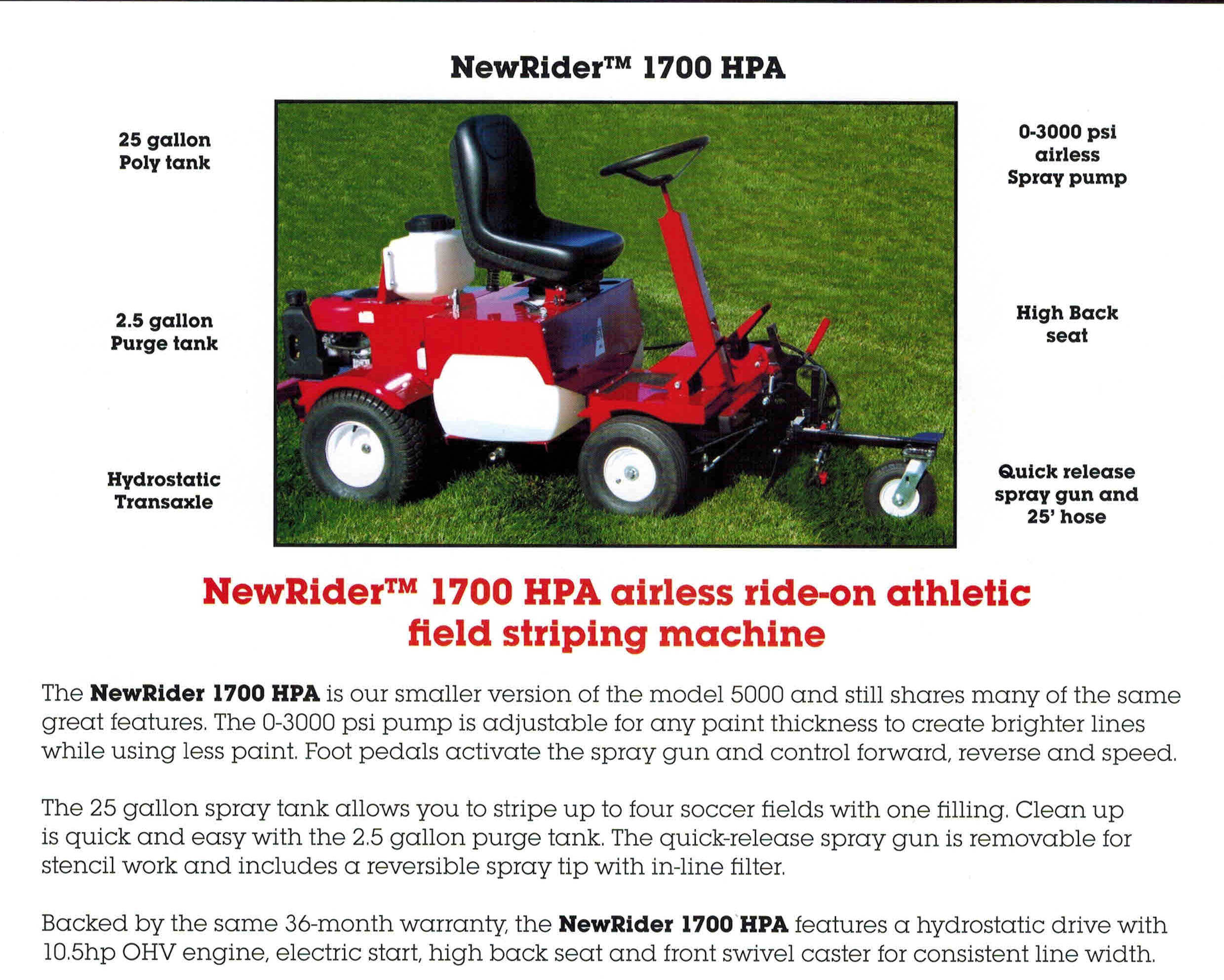 NewRider 1700 Airless, Ride-On Athletic Field Striping Machine