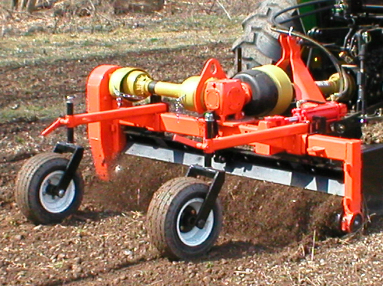 The PTO Powered Power Rake In Operation - Powered Soil Pulverizer/Conditioner