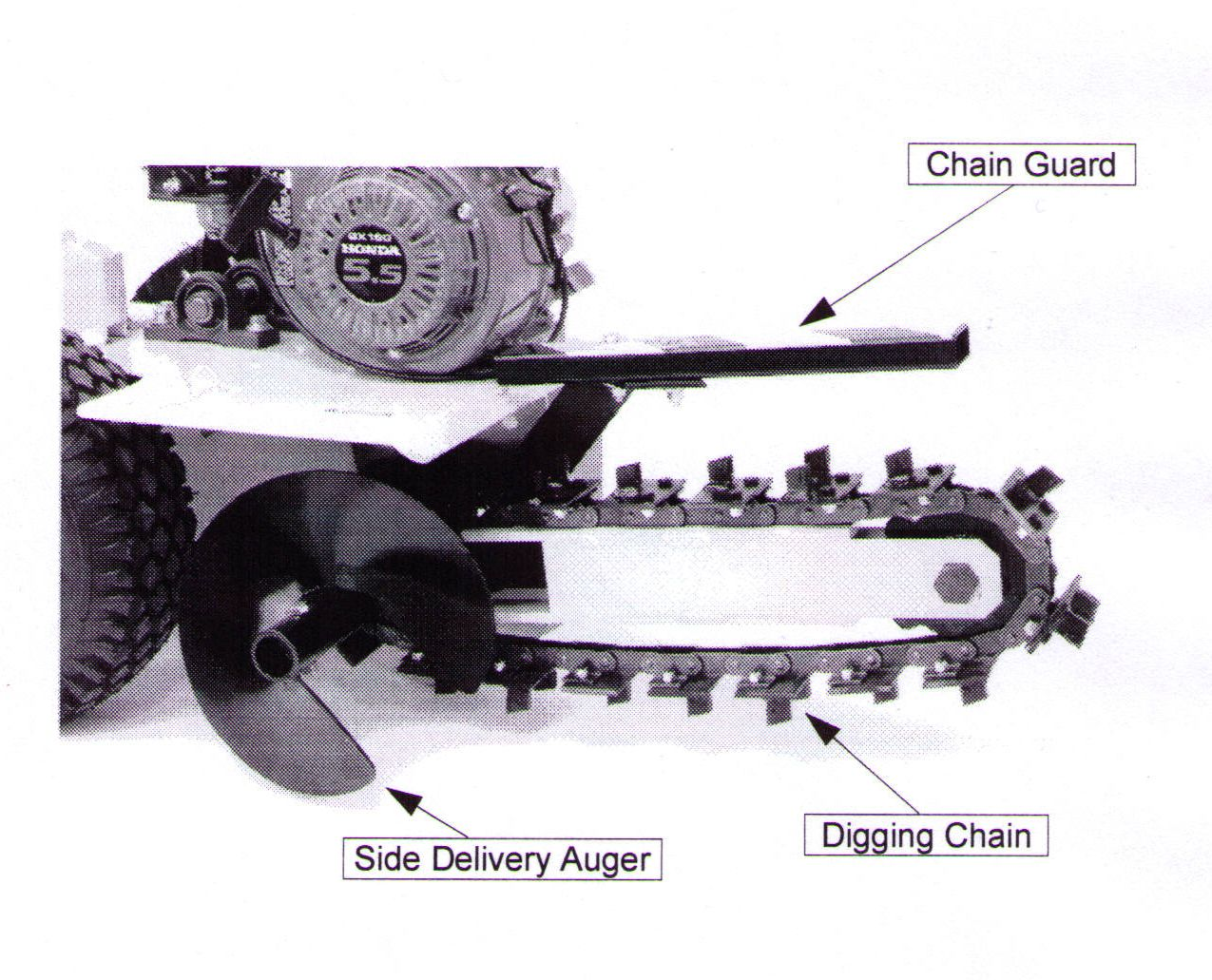 Side Delivery Auger And Chain Guard Shown, Chain Shown Has Shark Style Digging Teeth