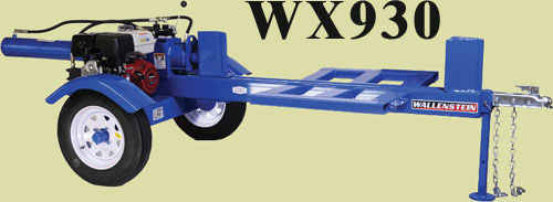 Model WX930 Horizontal Trailer Typ Logsplitter With 4.5 Inch Cylinder And 48 Inch Long Log Capacity
