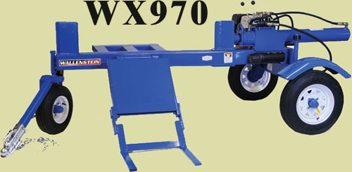 WX970 Horizontal Log Splitter On Three Wheel Off-Road Cart With Clevis Hitch, Hydraulic Loglift, 48 Inch Long Log Capacity