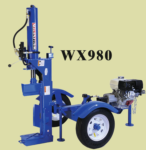 WX980 Trailer Mounted Horizontal/Vertical Combination Model, Mounted On Two Wheel Trailer For Highway Towing (See L Model With Light Kit), 31 Ton Capacity, Uses 5 Inch Cylinder, Has 24 Inch Long Log Capacity