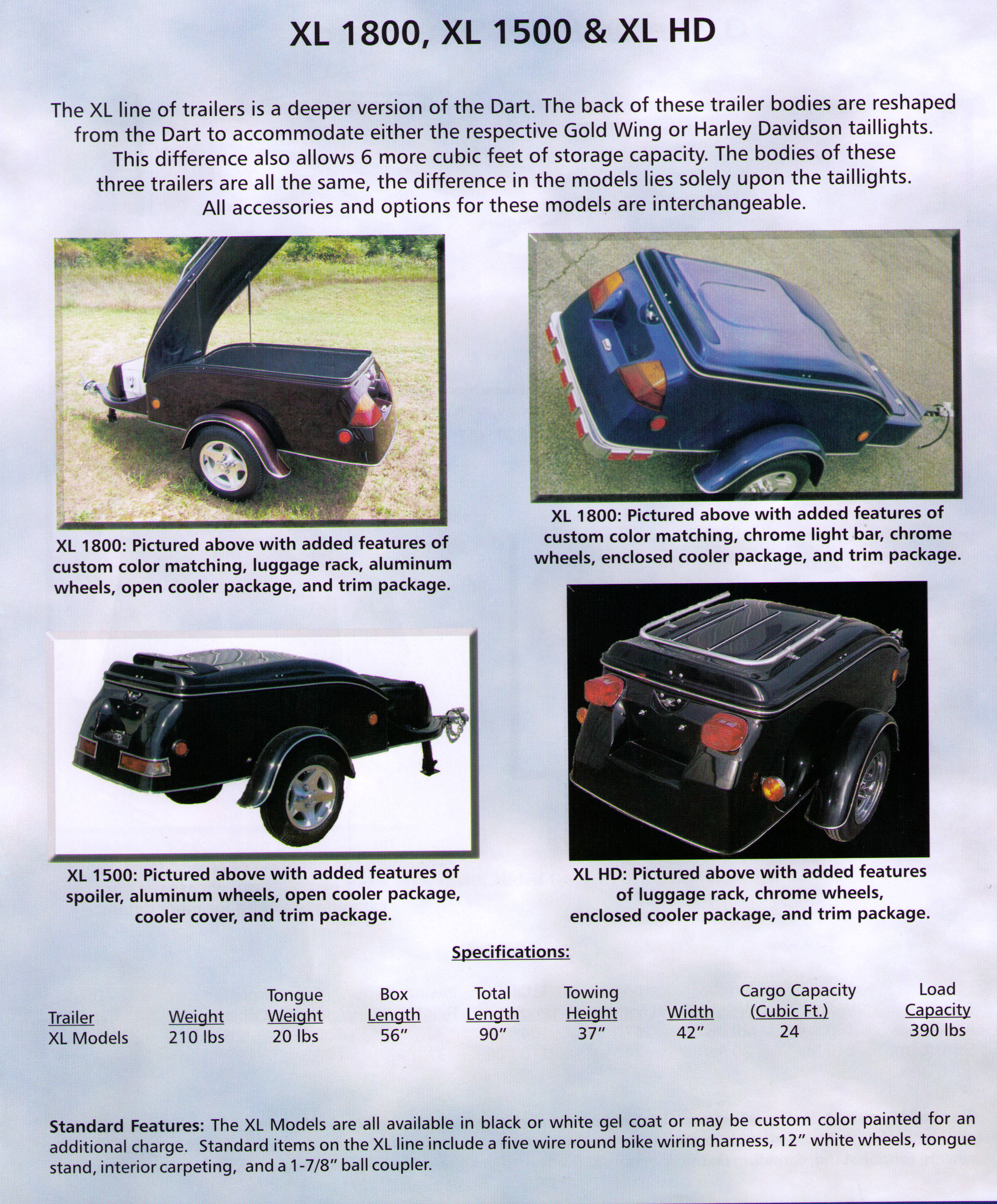 Specifications/Features Models XLHD And XL1800 Motorcycle Towable Cargo Trailers